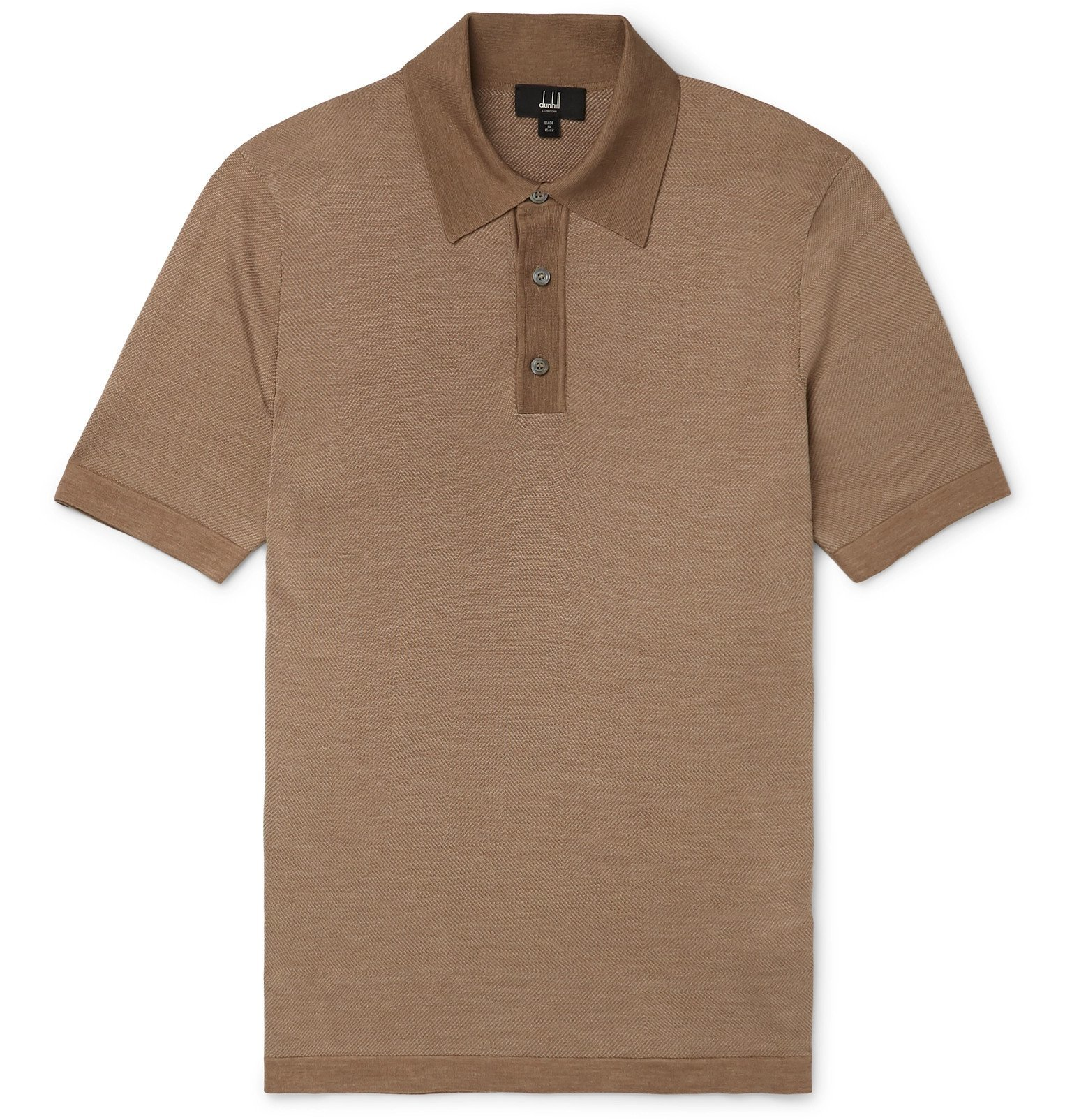 Dunhill - Herringbone-Knit Mulberry Silk Polo Shirt - Brown