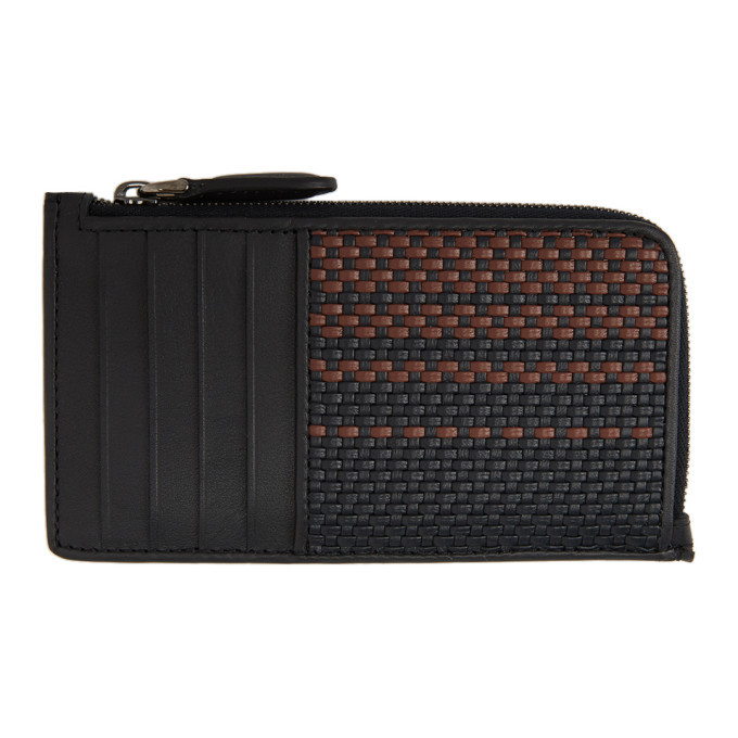 Photo: Ermenegildo Zegna Black and Red Pelletessuta Zipped Card Holder