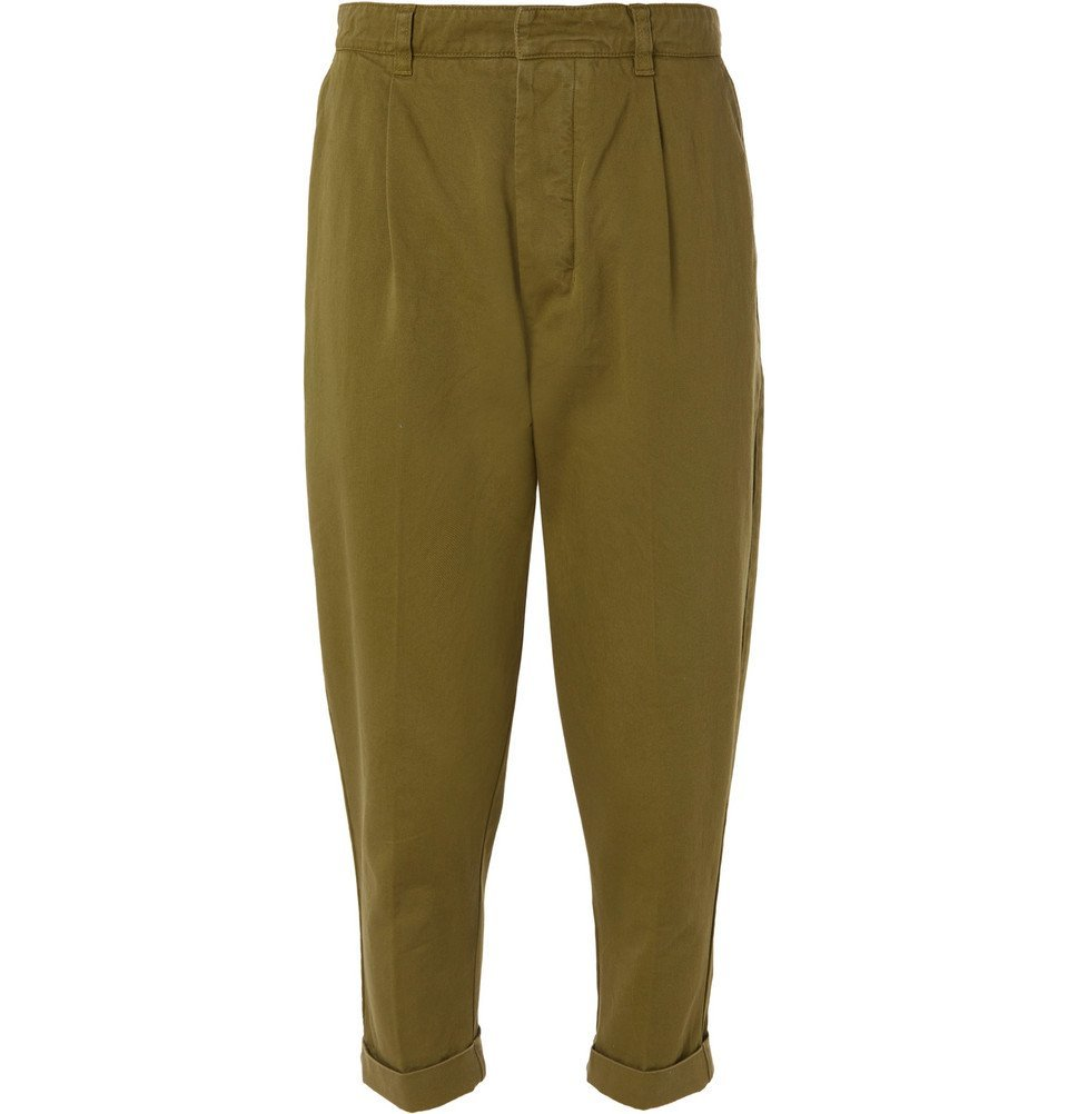 Photo: AMI - Pleated Cotton-Twill Chinos - Green