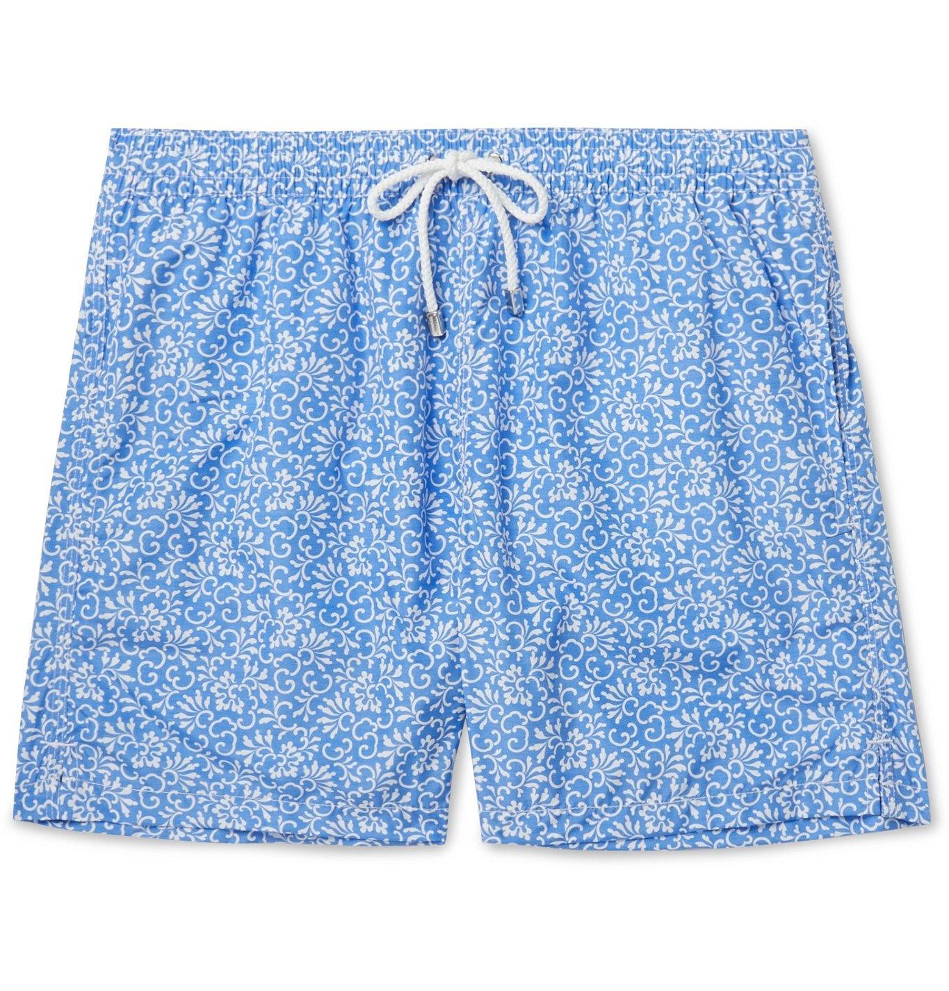 Photo: Anderson & Sheppard - Floral-Print Shell Swim Shorts - Blue
