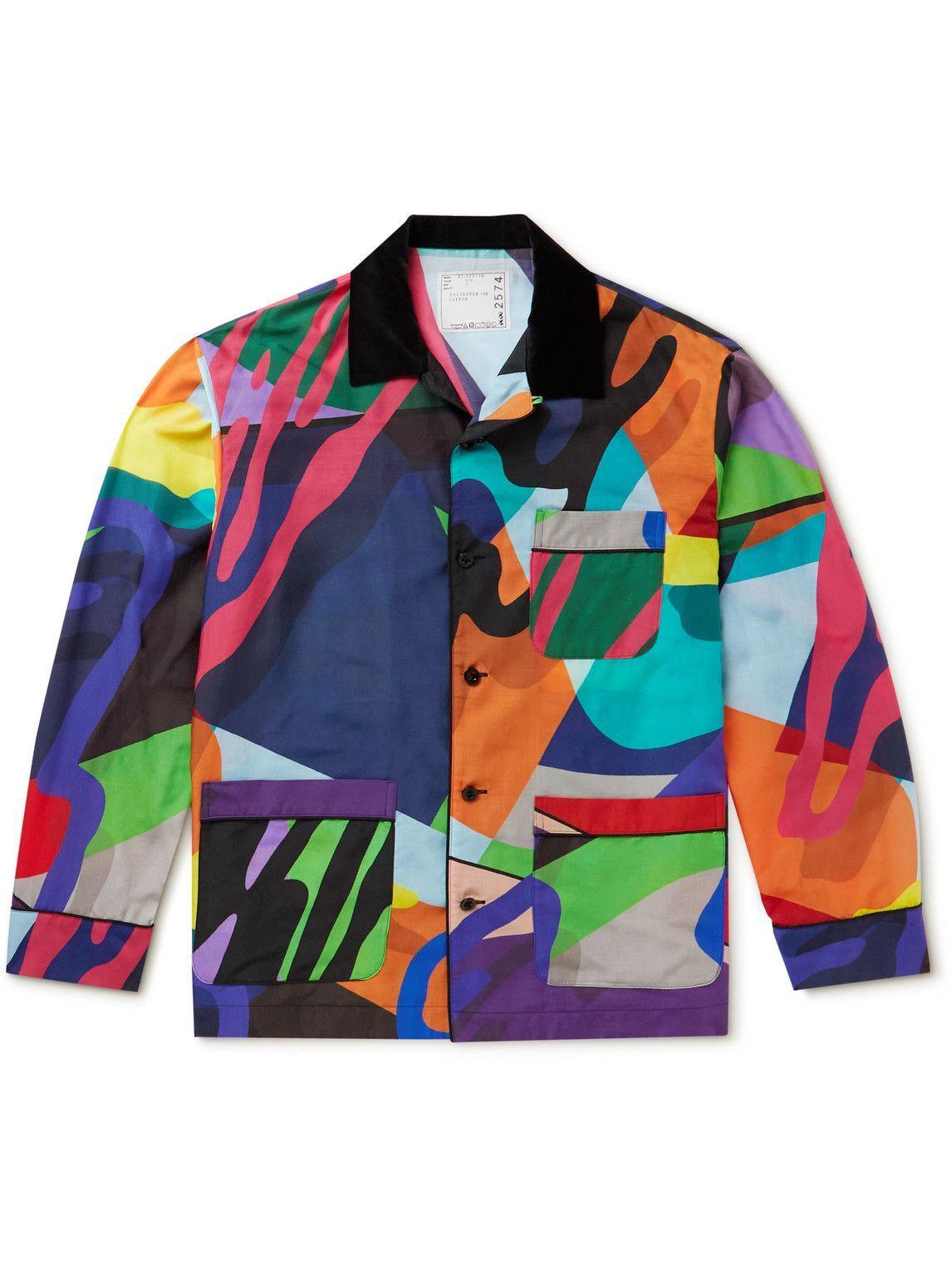 Photo: Sacai - KAWS Camp-Collar Printed Woven Shirt - Multi