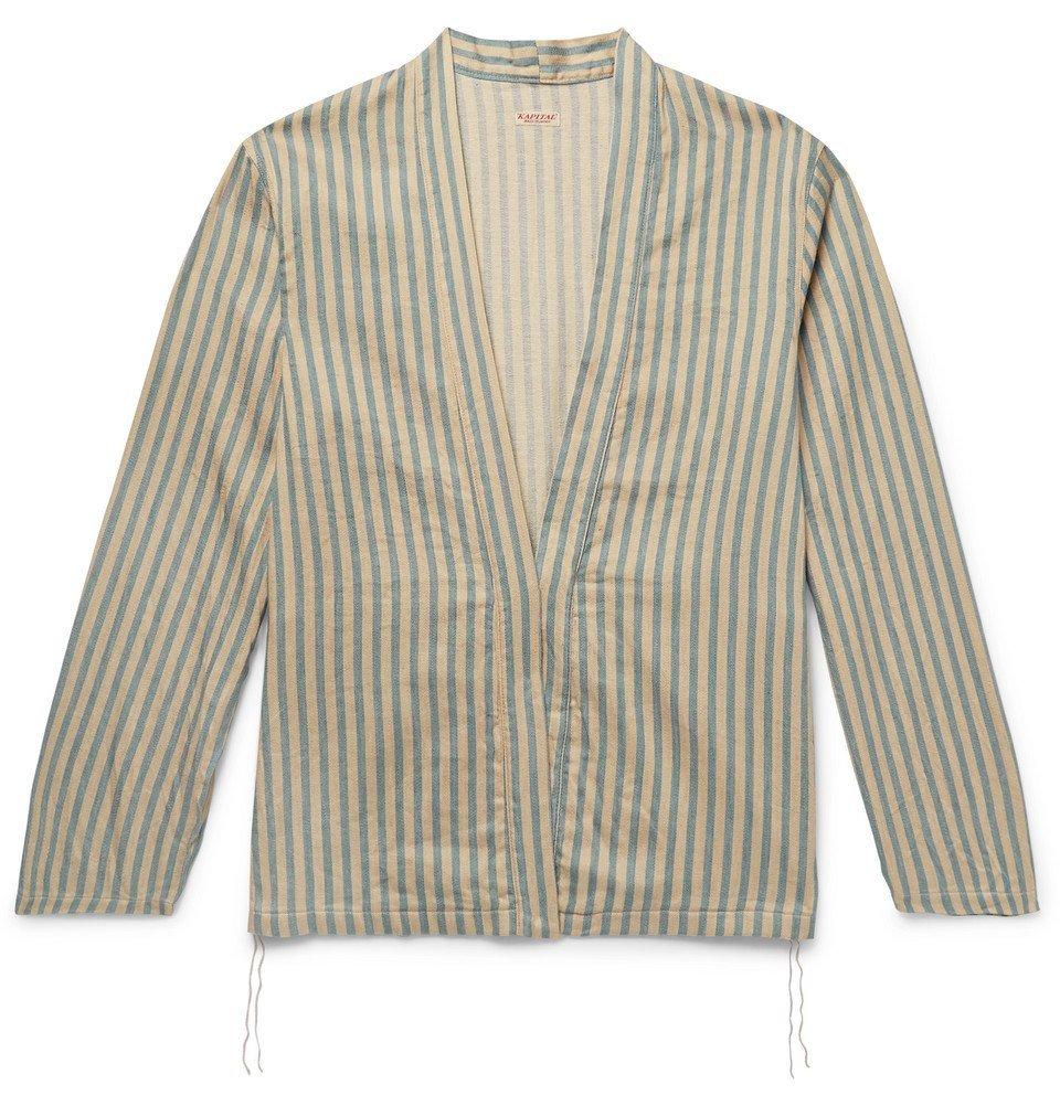 Photo: KAPITAL - Striped Linen and Cotton-Blend Jacket - Beige