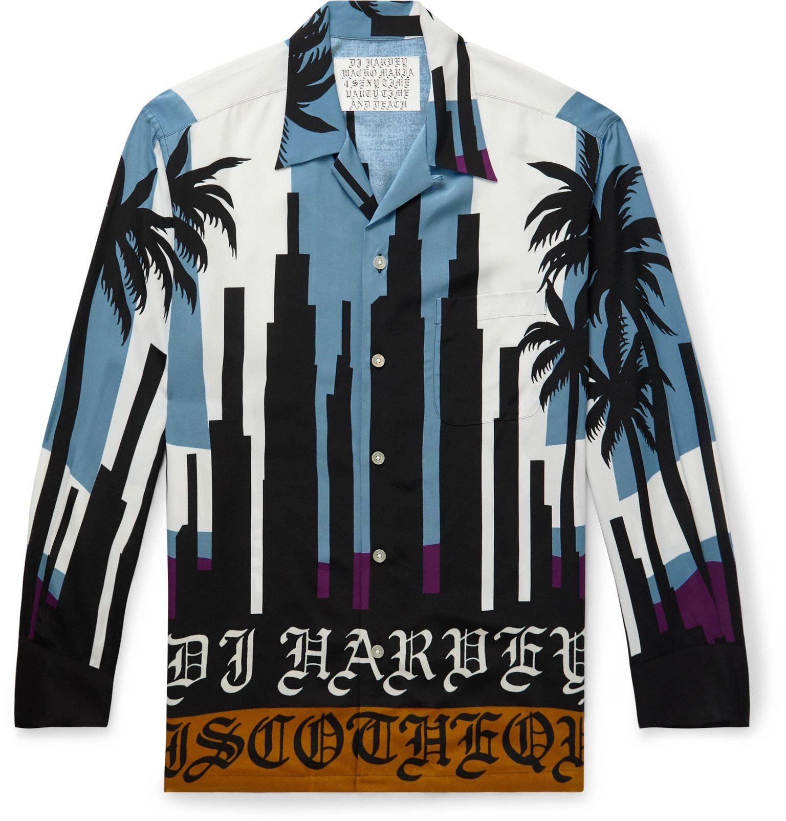 Photo: Wacko Maria - DJ Harvey Camp-Collar Printed Matte-Satin Shirt - Blue