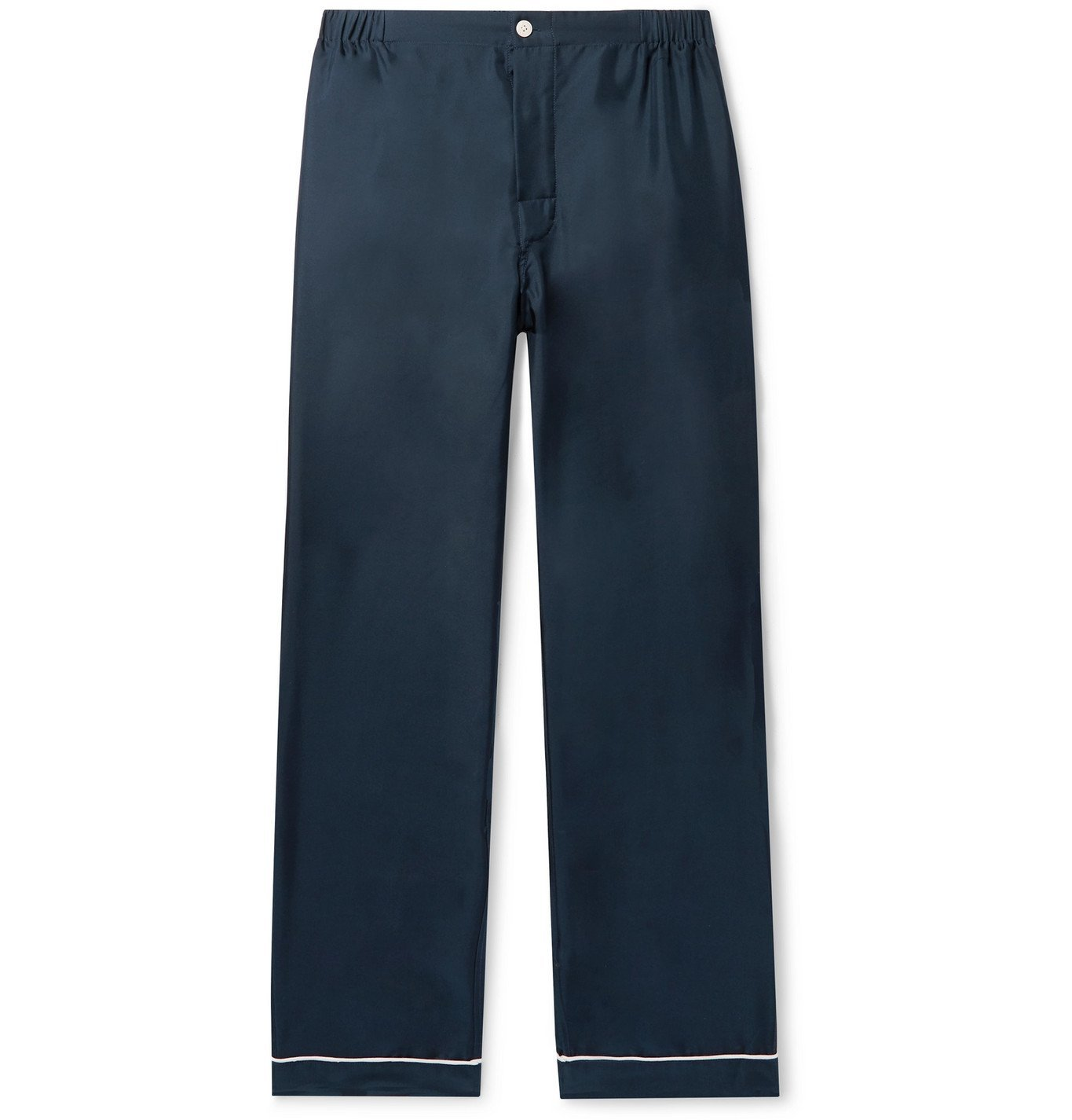 Photo: Sleepy Jones - Marcel Piped Silk-Twill Pyjama Trousers - Blue
