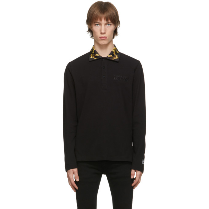 Photo: Versace Jeans Couture Black Shields and Chains Long Sleeve Polo