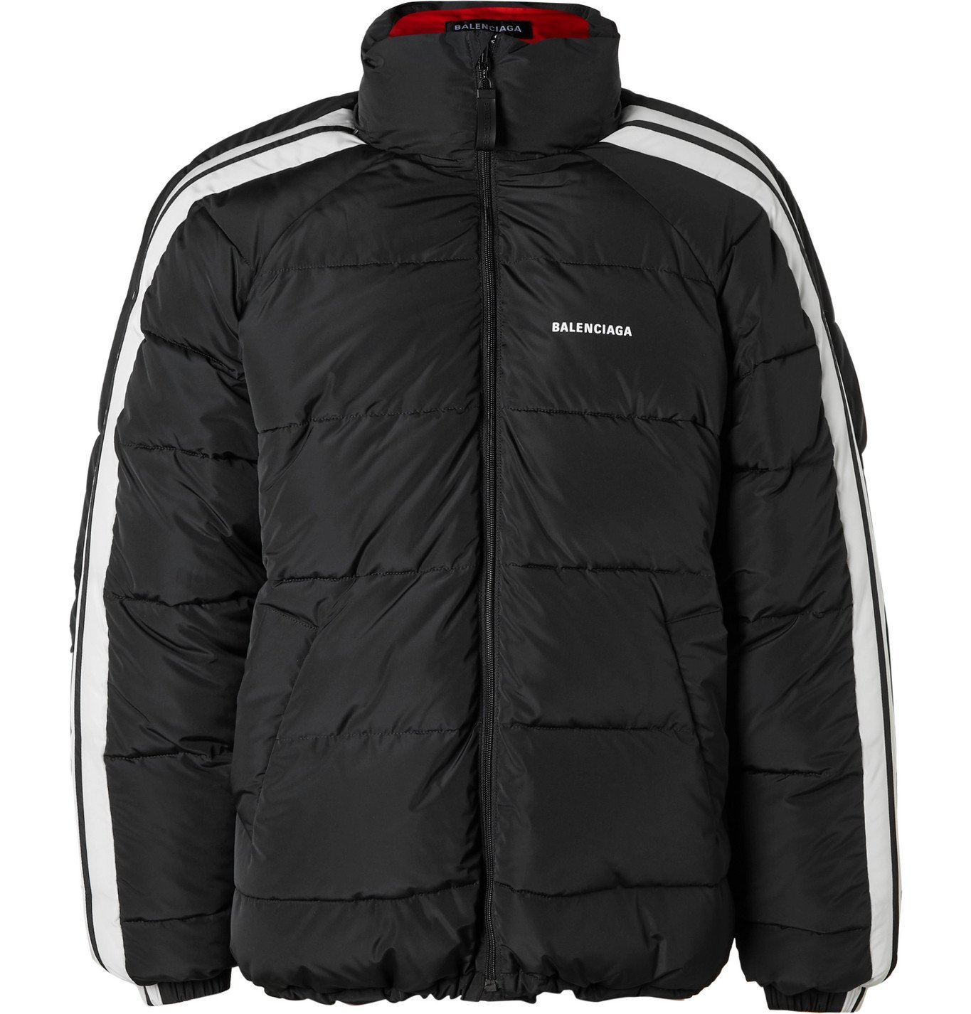 Photo: Balenciaga - Logo-Print Striped Quilted Padded Shell Jacket - Black