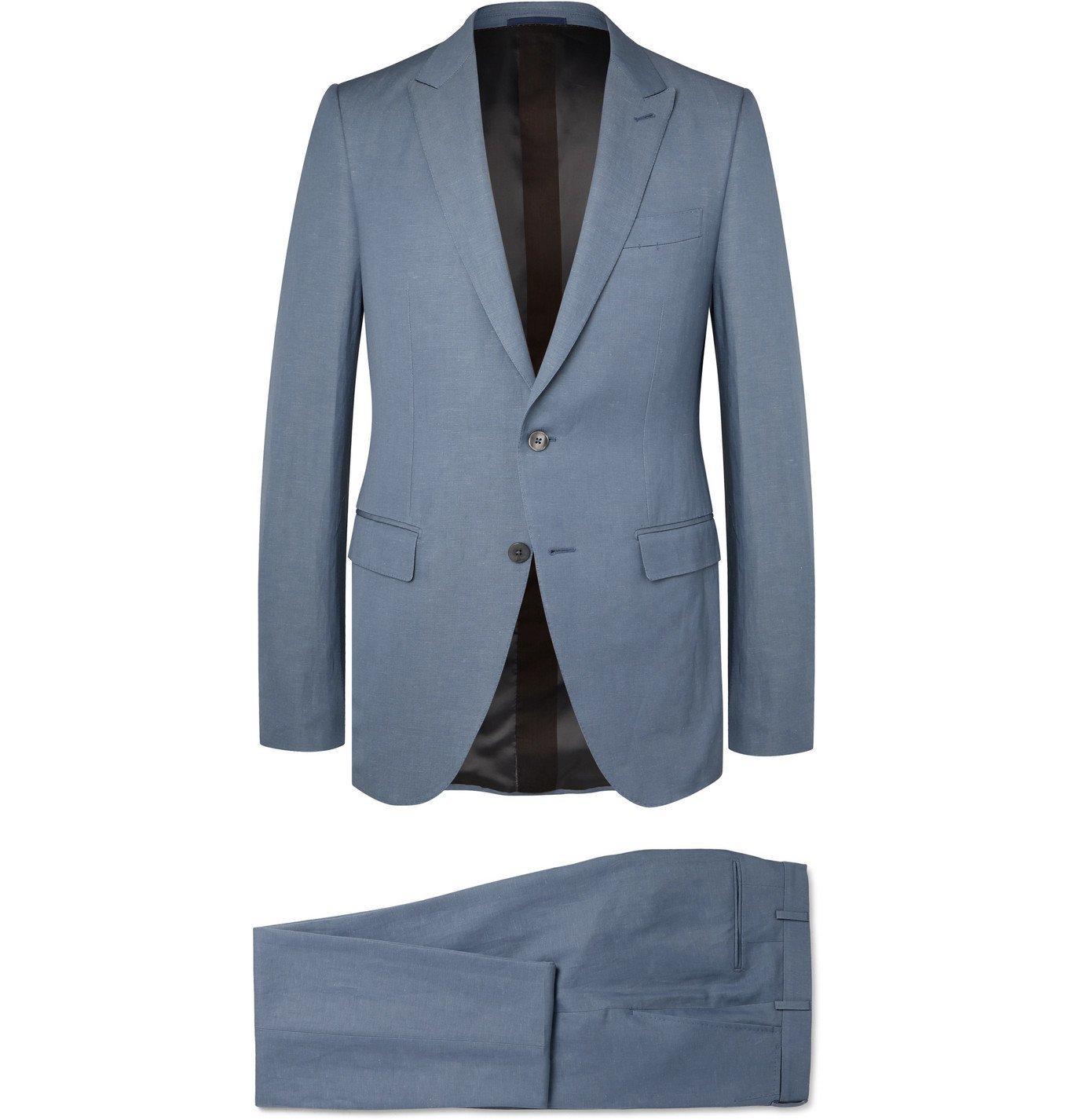 Photo: Ermenegildo Zegna - Slim-Fit Wool and Linen-Blend Suit - Blue