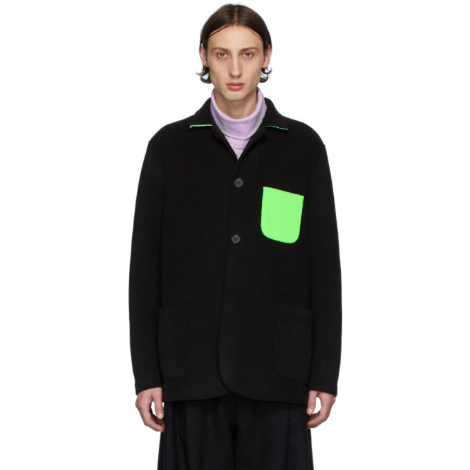 Photo: Harris Wharf London Black and Green Polaire Dropped Shoulders Jacket