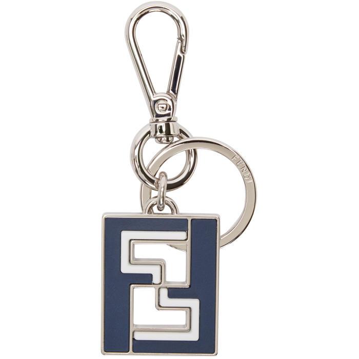 Photo: Fendi Navy and Silver Logo Keychain