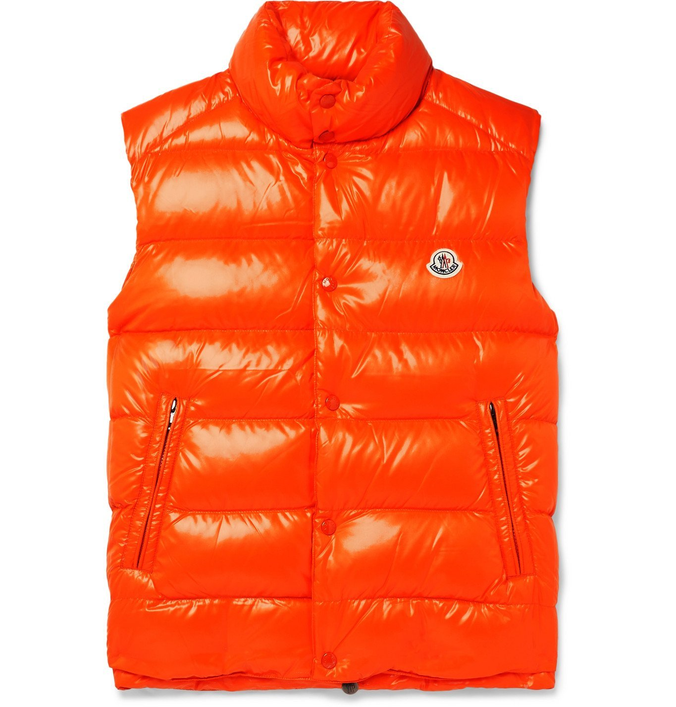 Photo: Moncler - Logo-Appliquéd Quilted Shell Down Gilet - Orange