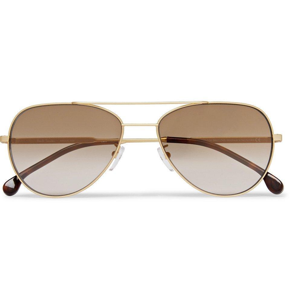 Photo: Paul Smith - Aviator-Style Gold-Tone and Tortoiseshell Acetate Sunglasses - Brown