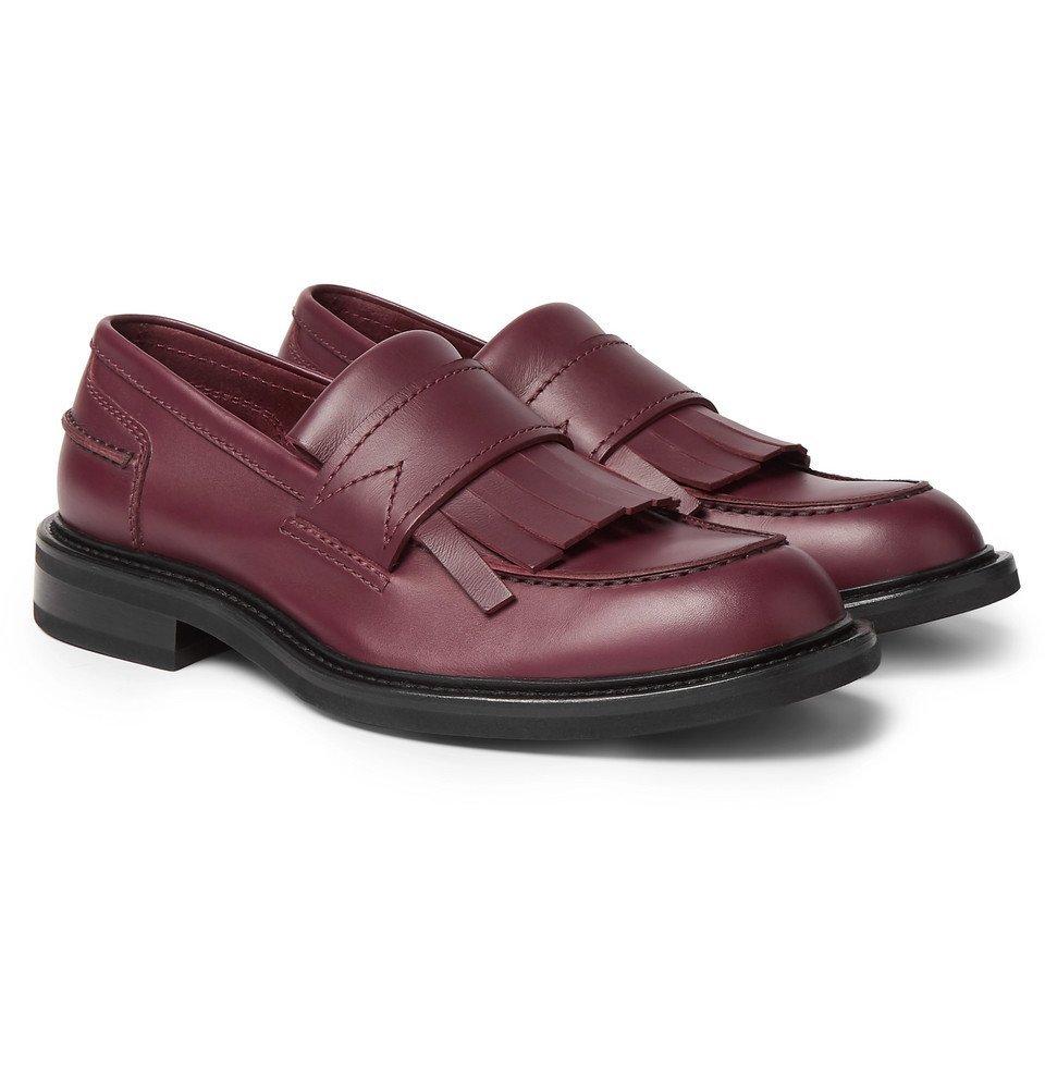 Photo: Bottega Veneta - Fringed Leather Loafers - Burgundy