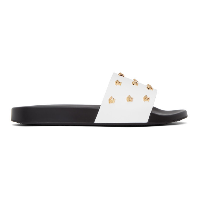 Photo: Versace White and Black Leather Medusa Stud Slides