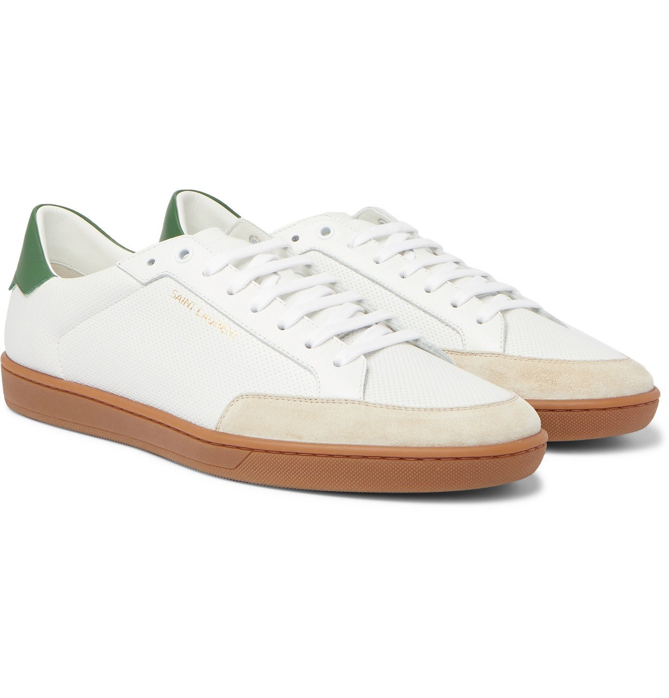Photo: SAINT LAURENT - SL/10 Suede-Trimmed Perforated Leather Sneakers - White