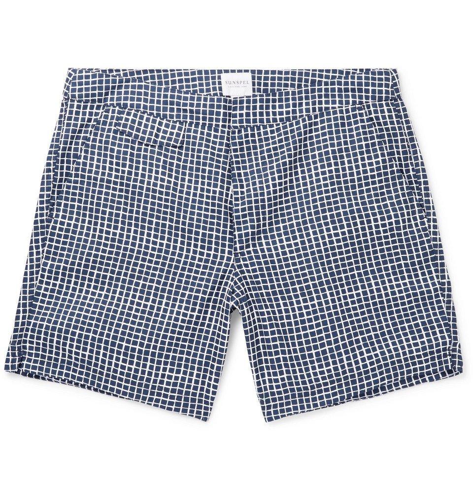 Sunspel - Mid-Length Printed Swim Shorts - Navy