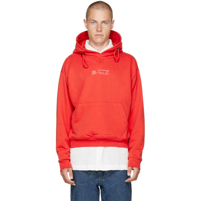 Martine Rose Red Classic Double Drawstring Logo Hoodie
