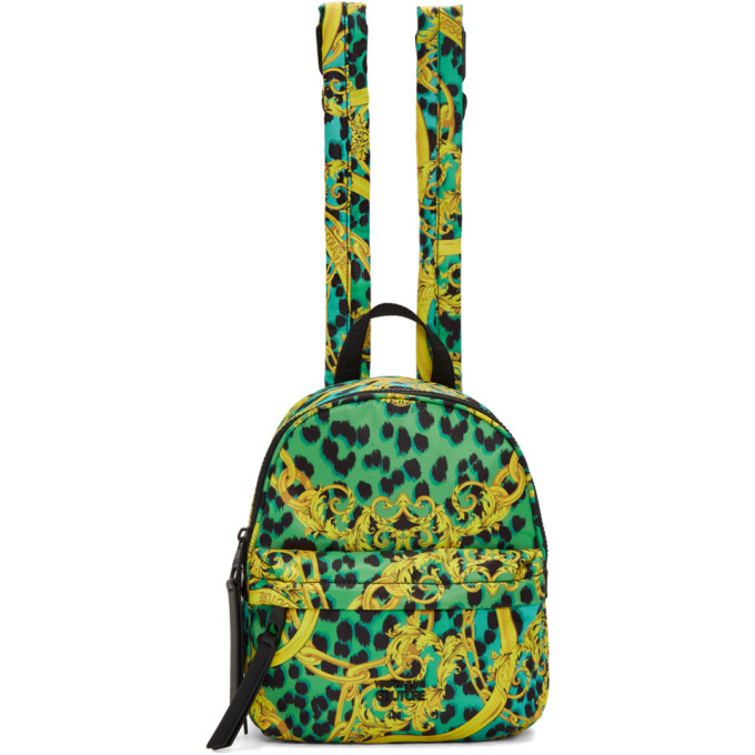 Versace Jeans Couture Blue and Yellow Barocco Backpack