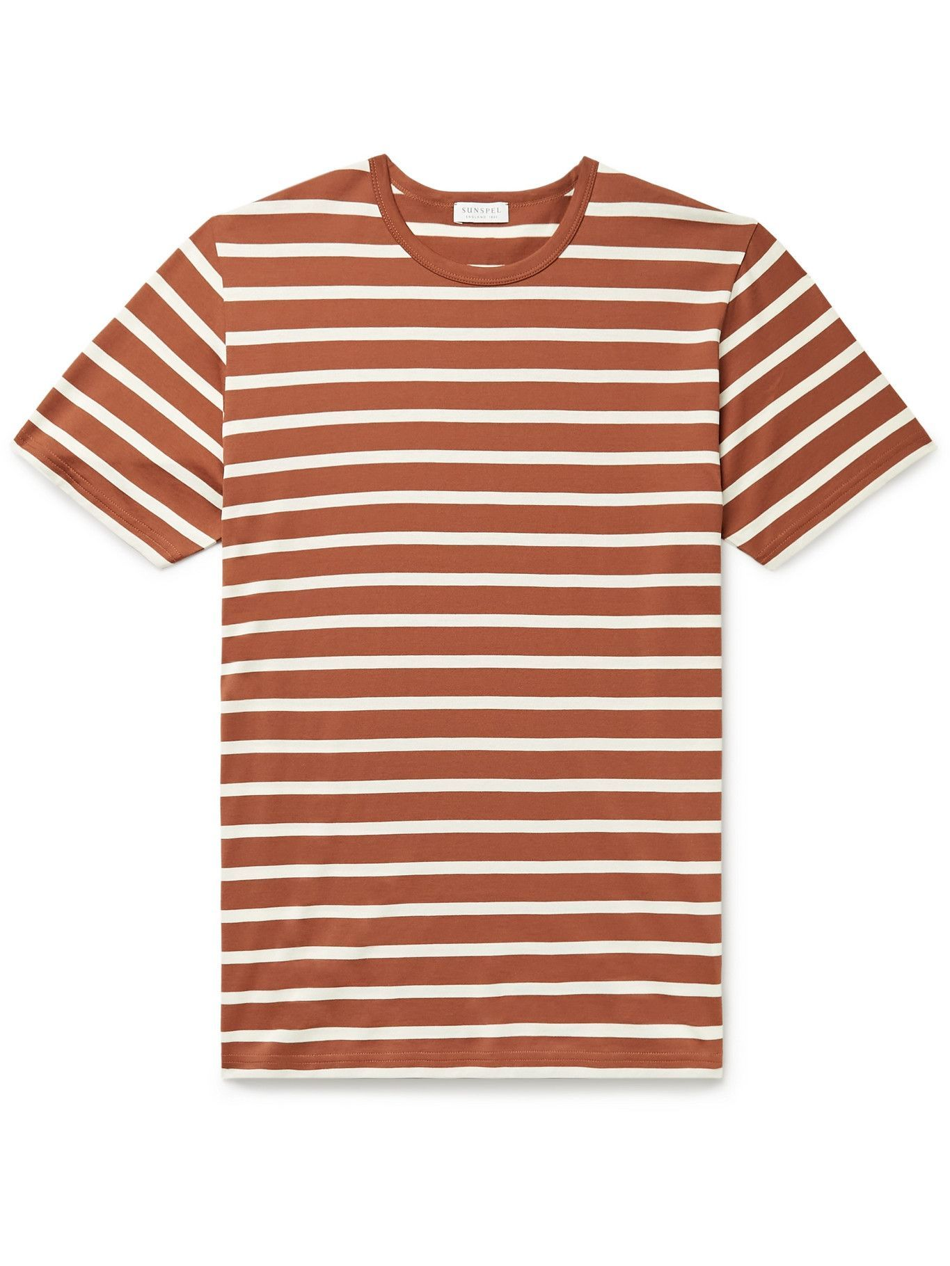 Photo: SUNSPEL - Striped Cotton-Jersey T-Shirt - Brown