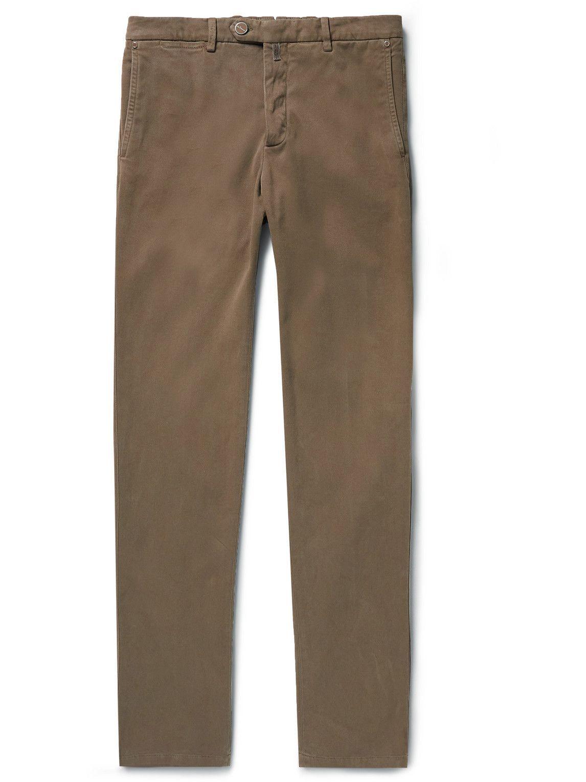 Photo: Kiton - Straight-Leg Stretch-Cotton Twill Trousers - Brown