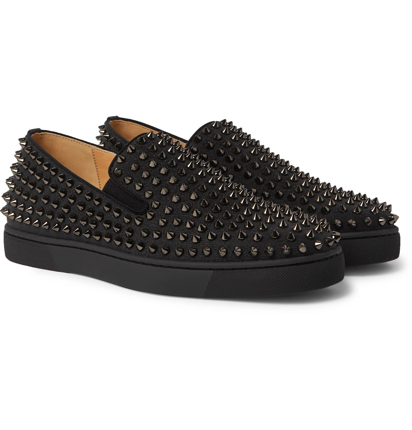 Photo: Christian Louboutin - Roller-Boat Studded Glittered Leather Slip-On Sneakers - Black