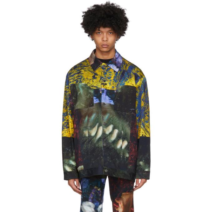 Photo: Ottolinger Multicolor Lucie Stahl Edition Denim Oversized Print Jacket