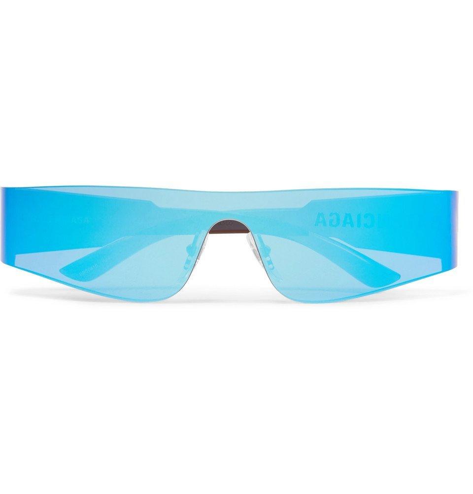 Photo: Balenciaga - Mono Rectangle-Frame Nylon Mirrored Sunglasses - Bright blue