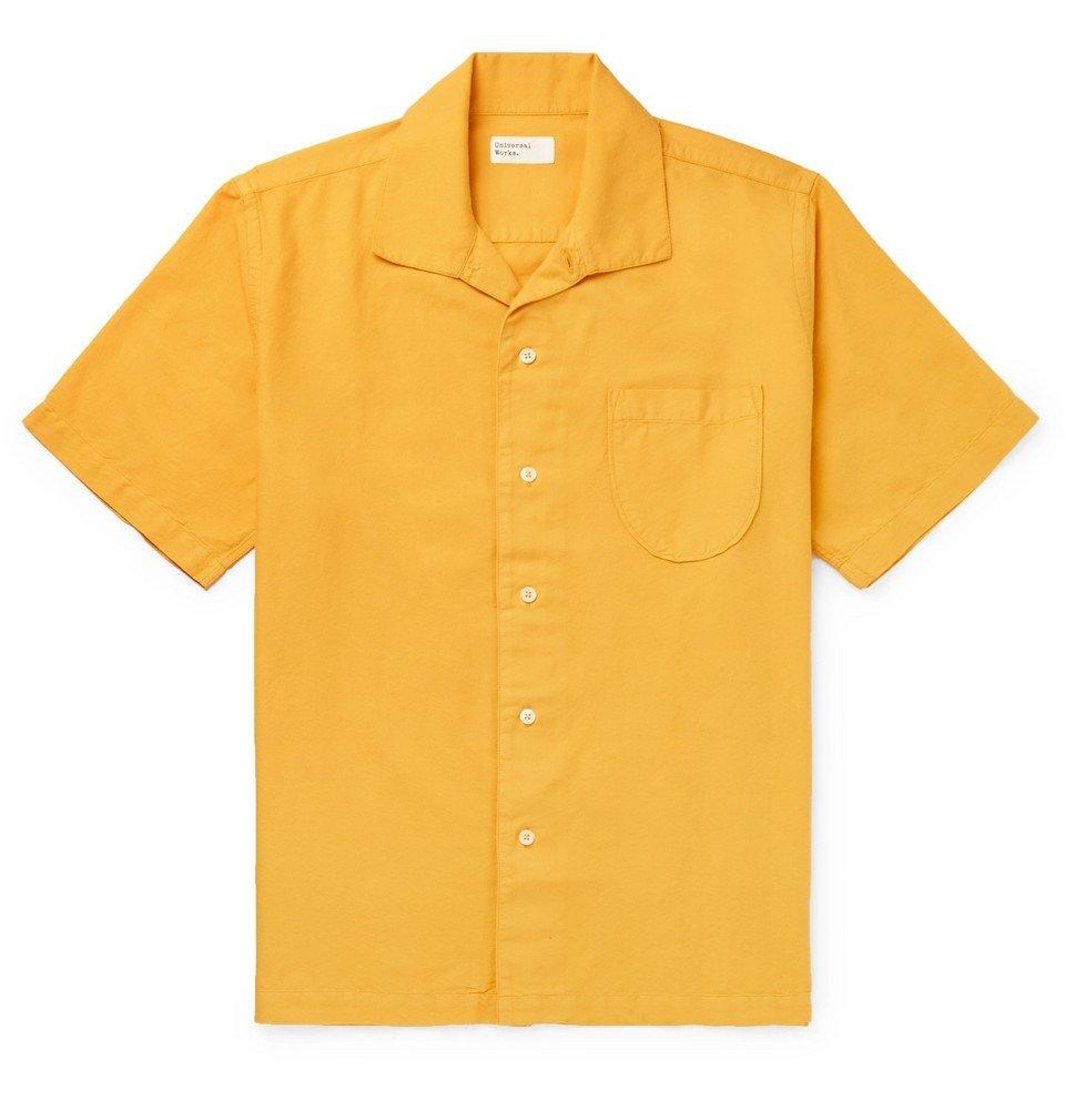 Photo: Universal Works - Camp-Collar Cotton Oxford Shirt - Yellow