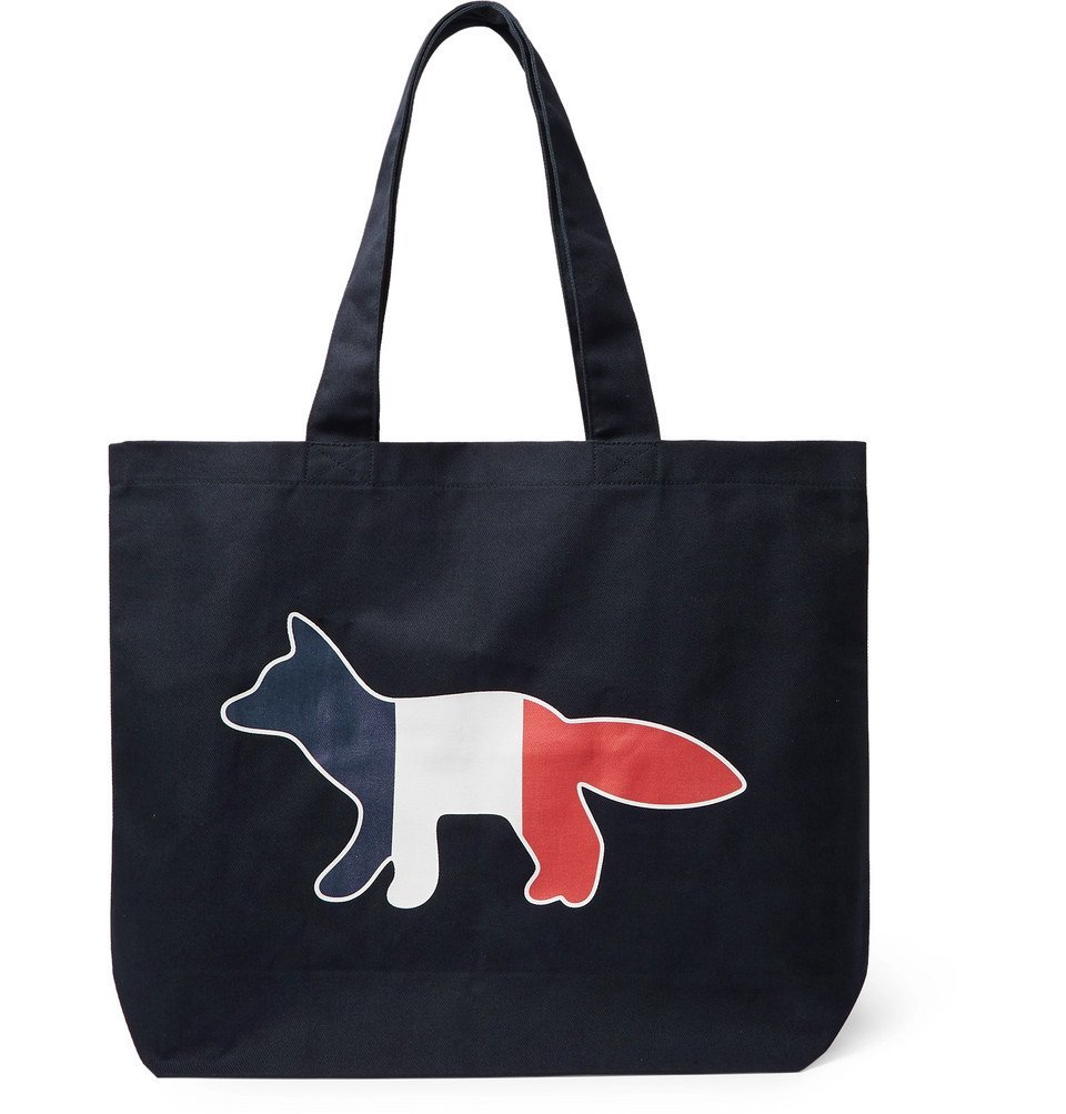 Photo: Maison Kitsuné - Logo-Print Cotton-Blend Twill Tote Bag - Navy