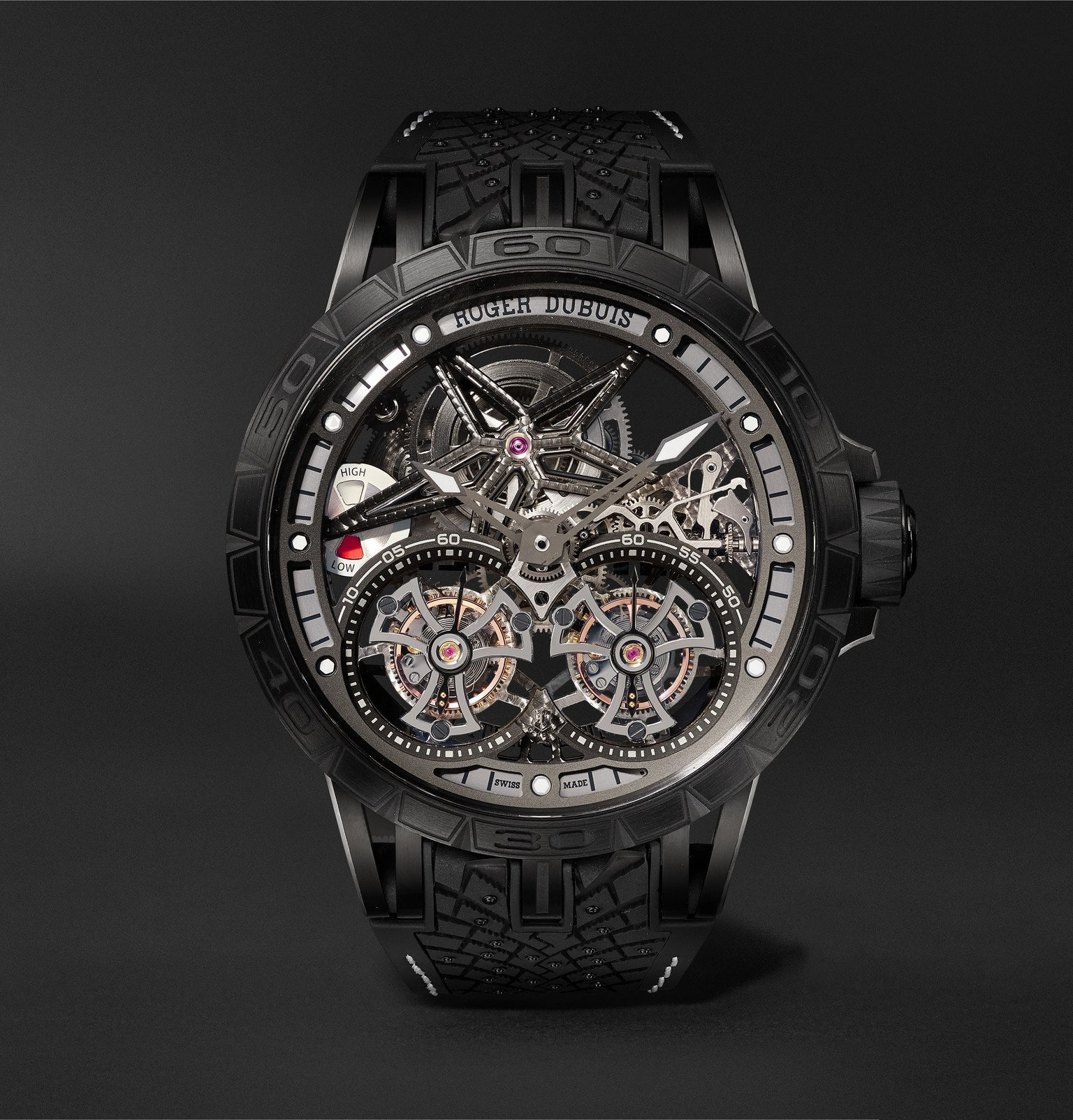 Photo: Roger Dubuis - Excalibur Pirelli ICE ZERO 2 One-of-a-Kind Hand-Wound Skeleton Double Flying Tourbillon 47mm Titanium and Rubber Watch, Ref. - Black