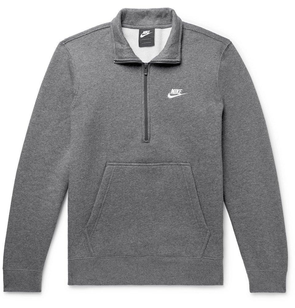 Photo: Nike - Sportswear Mélange Fleece-Back Cotton-Blend Half-Zip Sweatshirt - Men - Gray