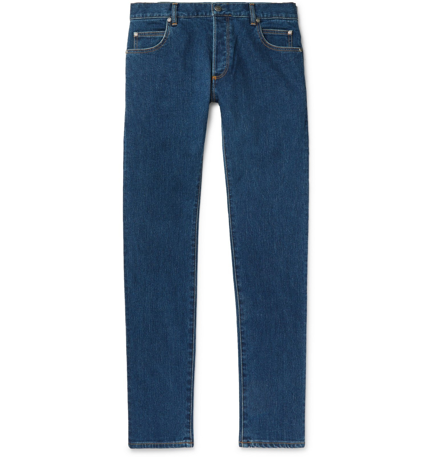 Photo: Balmain - Slim-Fit Logo-Embossed Denim Jeans - Blue