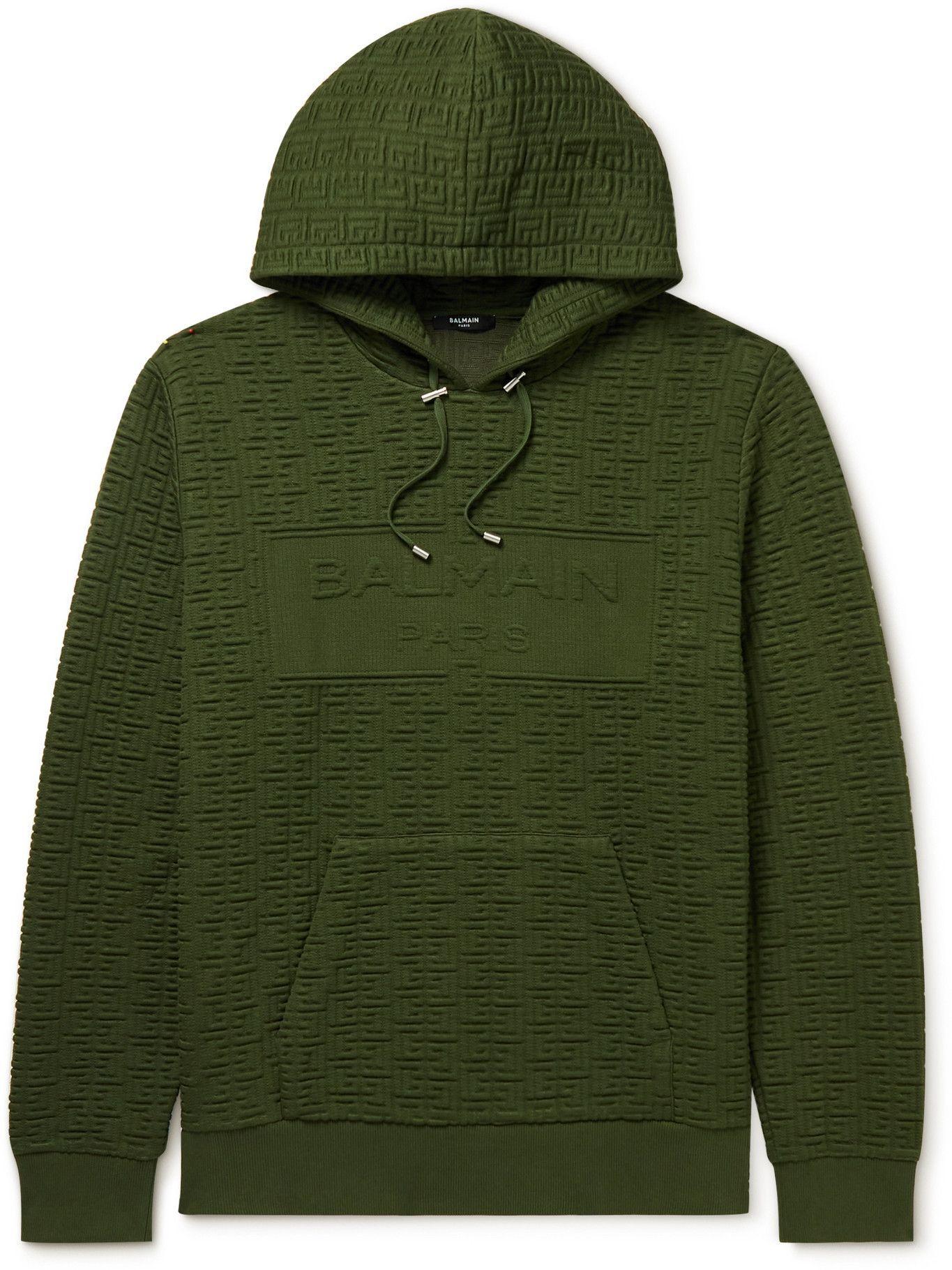 Photo: Balmain - Logo-Embossed Jersey Hoodie - Green