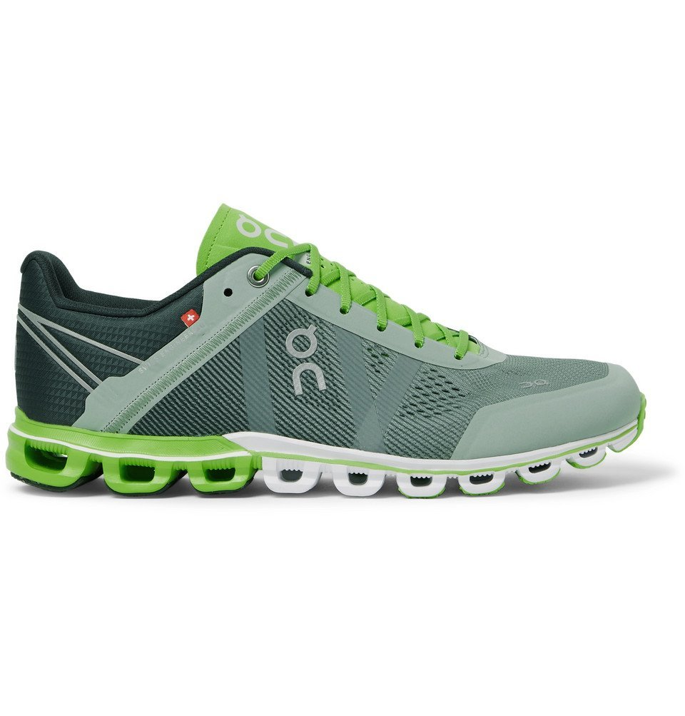 Photo: On - Cloudflow Rubber-Trimmed Mesh and Shell Running Sneakers - Green
