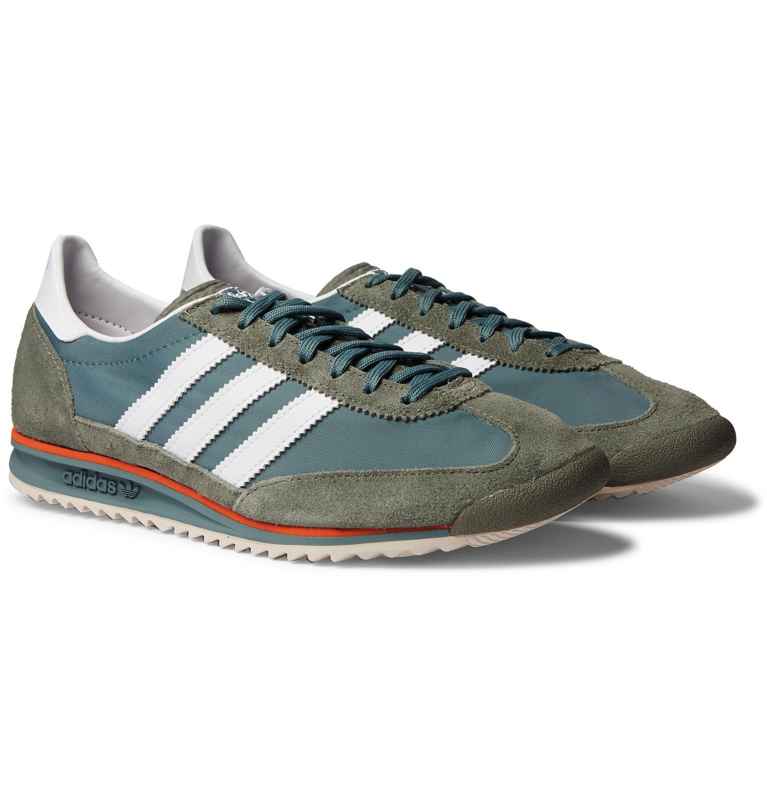 adidas Originals - SL 72 Faux Leather, Faux Suede and Shell Sneakers - Green
