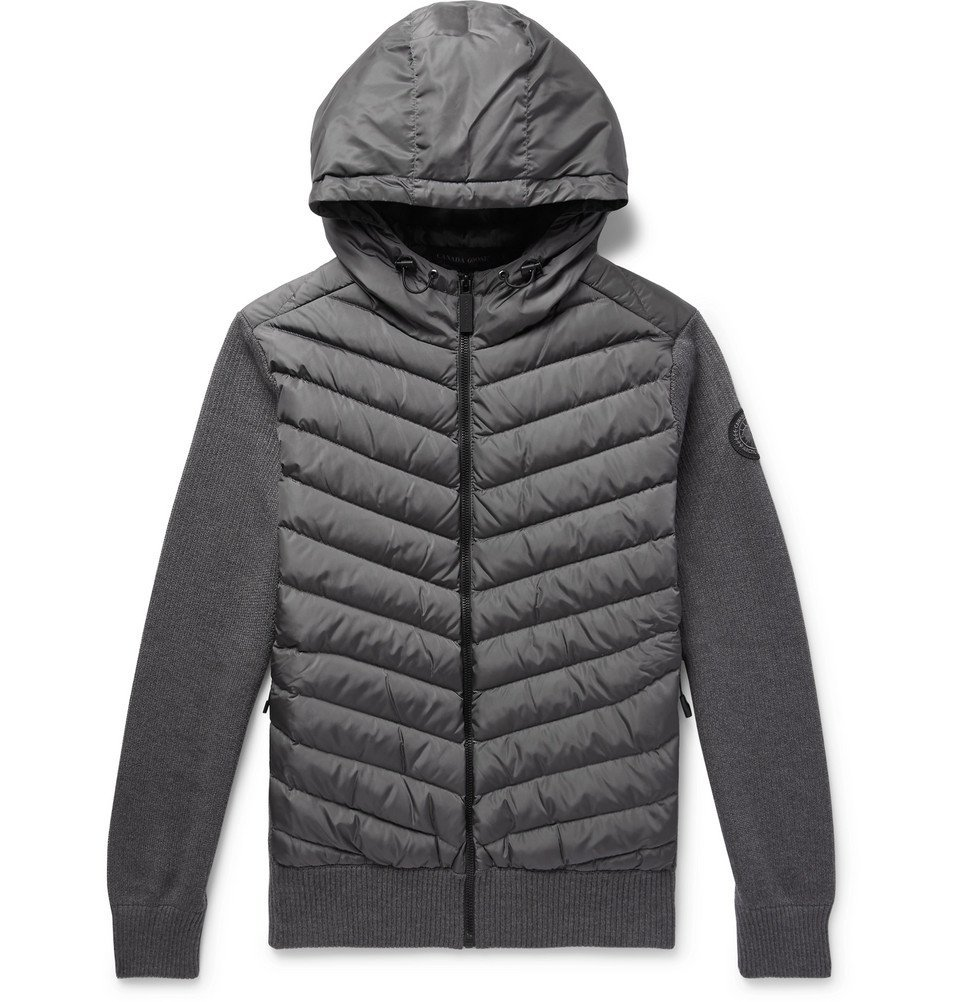 Photo: Canada Goose - Hybridge Merino Wool and Quilted Shell Down Jacket Zip-Up Hoodie - Gray