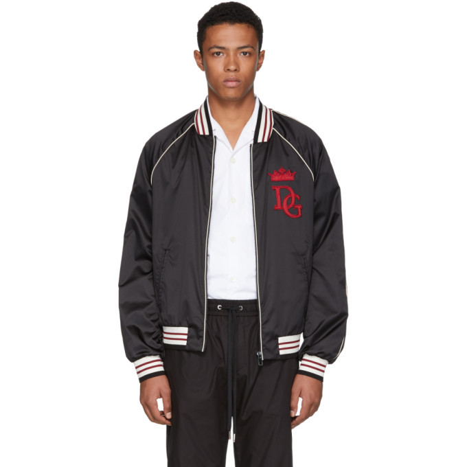 Photo: Dolce and Gabbana Black Royals Bomber Jacket