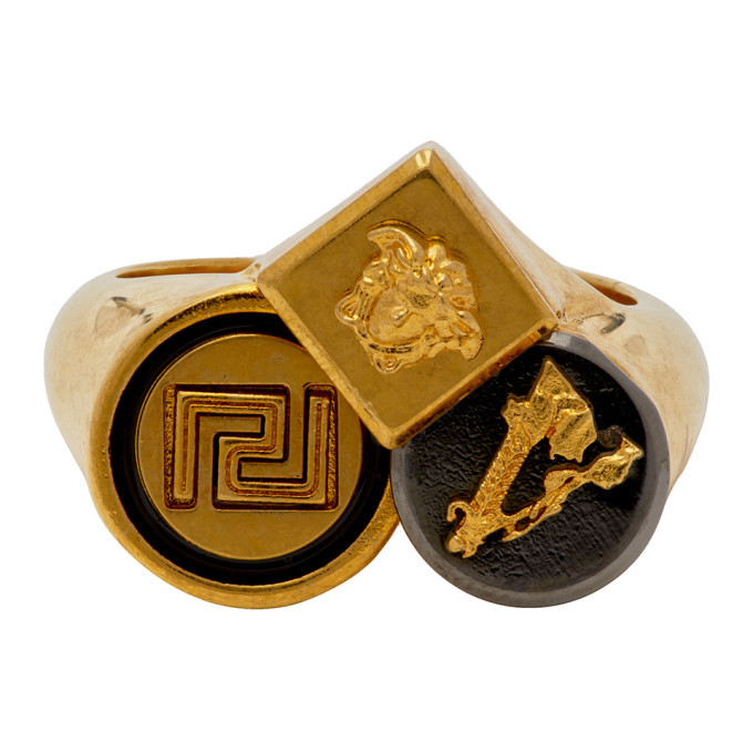Photo: Versace Gold Logo Trio Ring
