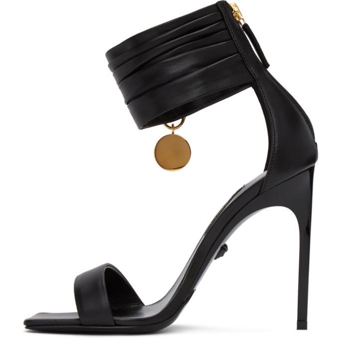 Versace Black Medusa Brooch Heeled Sandals