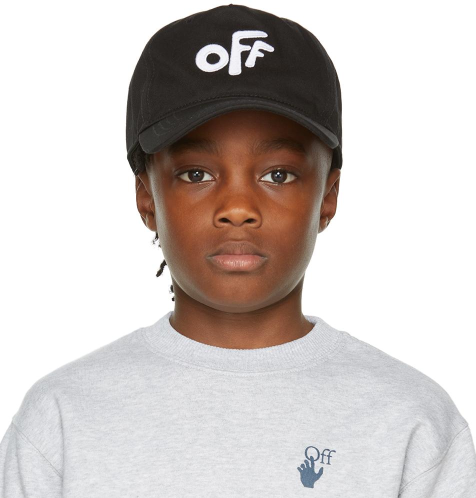 Photo: Off-White Kids Black & White 'Off' Rounded Baseball Cap
