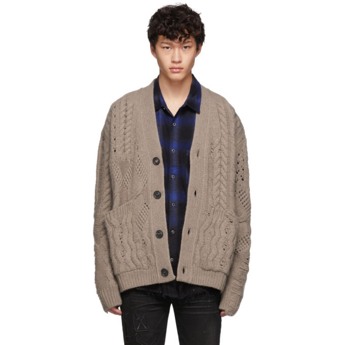 Photo: Amiri Brown Multipoint Short Cardigan