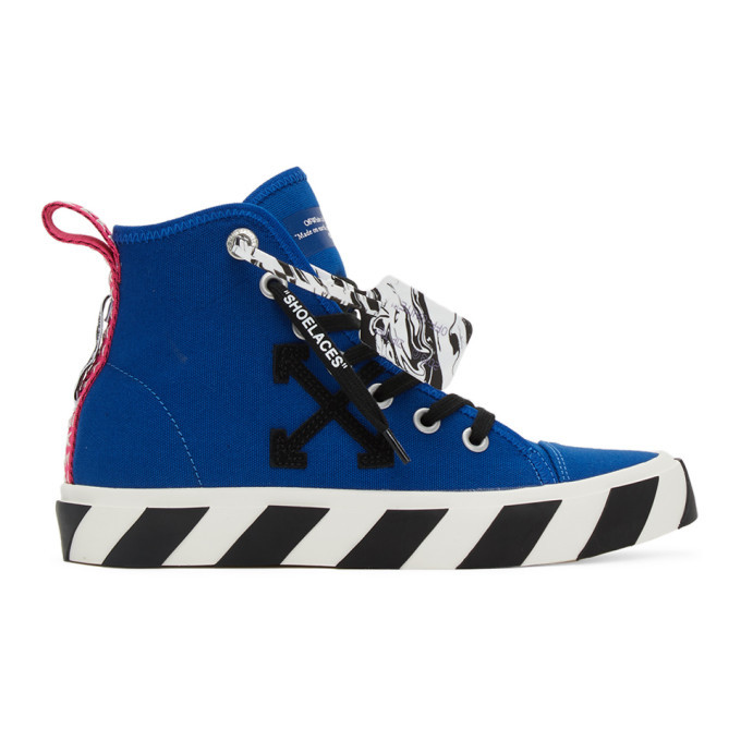 Photo: Off-White Blue and Black Mid-Top Vulcanized Sneakers