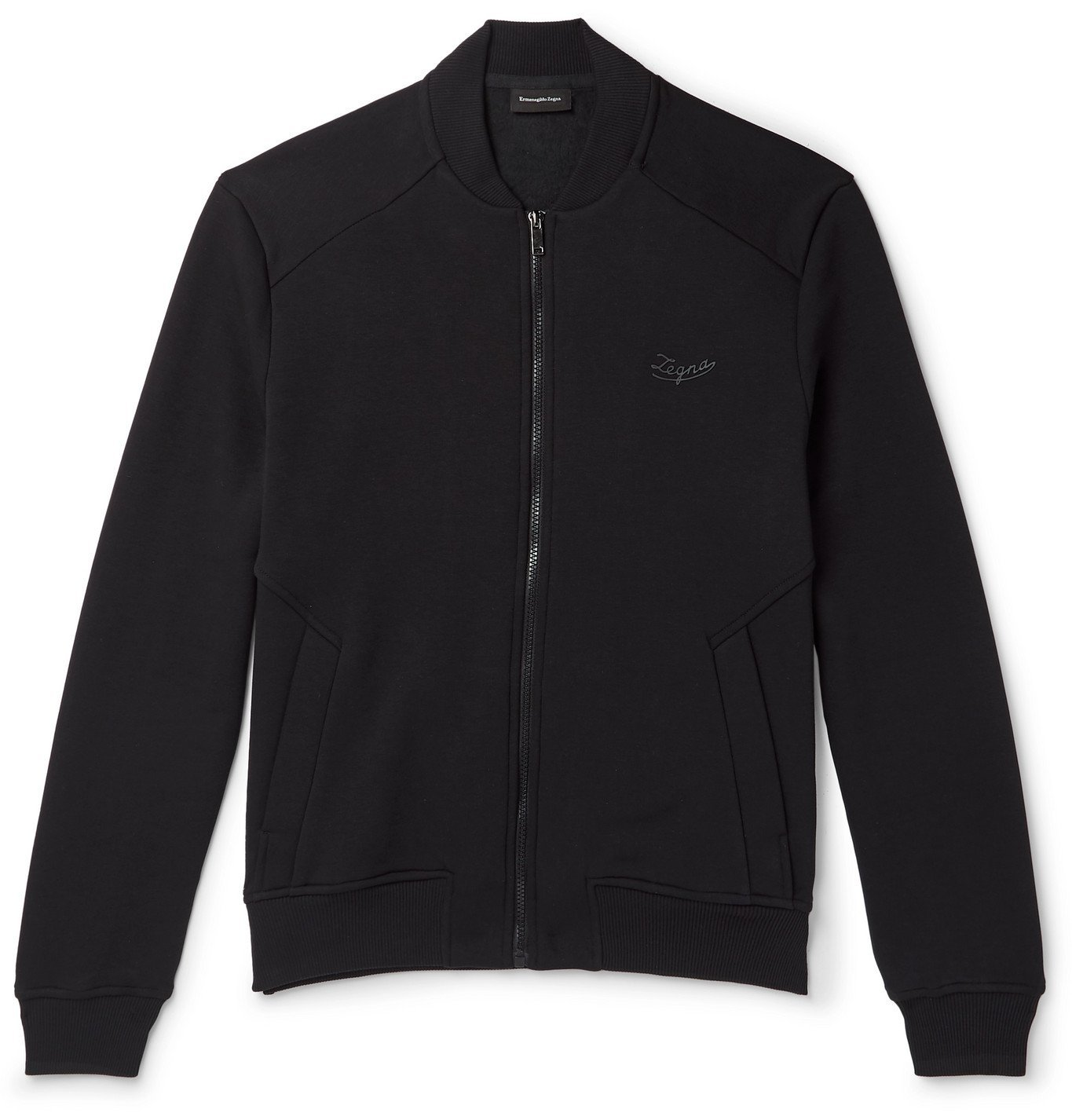Photo: Ermenegildo Zegna - Slim-Fit Fleece-Back Cotton-Blend Jersey Bomber Jacket - Black