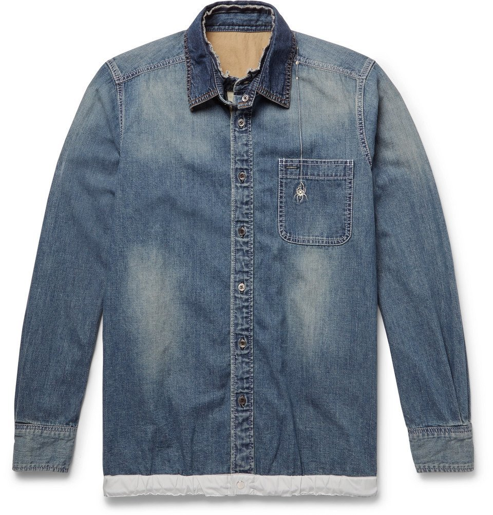 Photo: Sacai - Dr. Woo Embroidered Shell and Grosgrain-Trimmed Denim Shirt - Blue