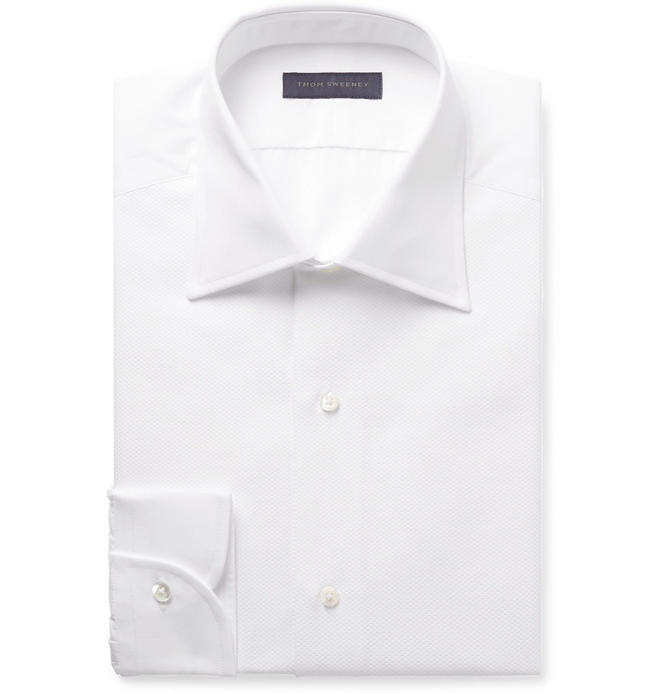 Photo: Thom Sweeney - White Slim-Fit Cutaway-Collar Bib-Front Cotton-Poplin Tuxedo Shirt - White