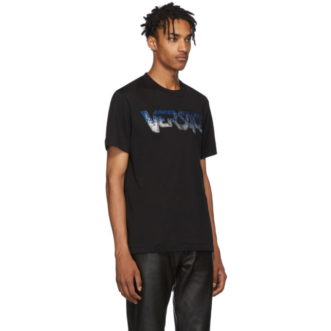 Versace Black Embroidered Logo T-Shirt