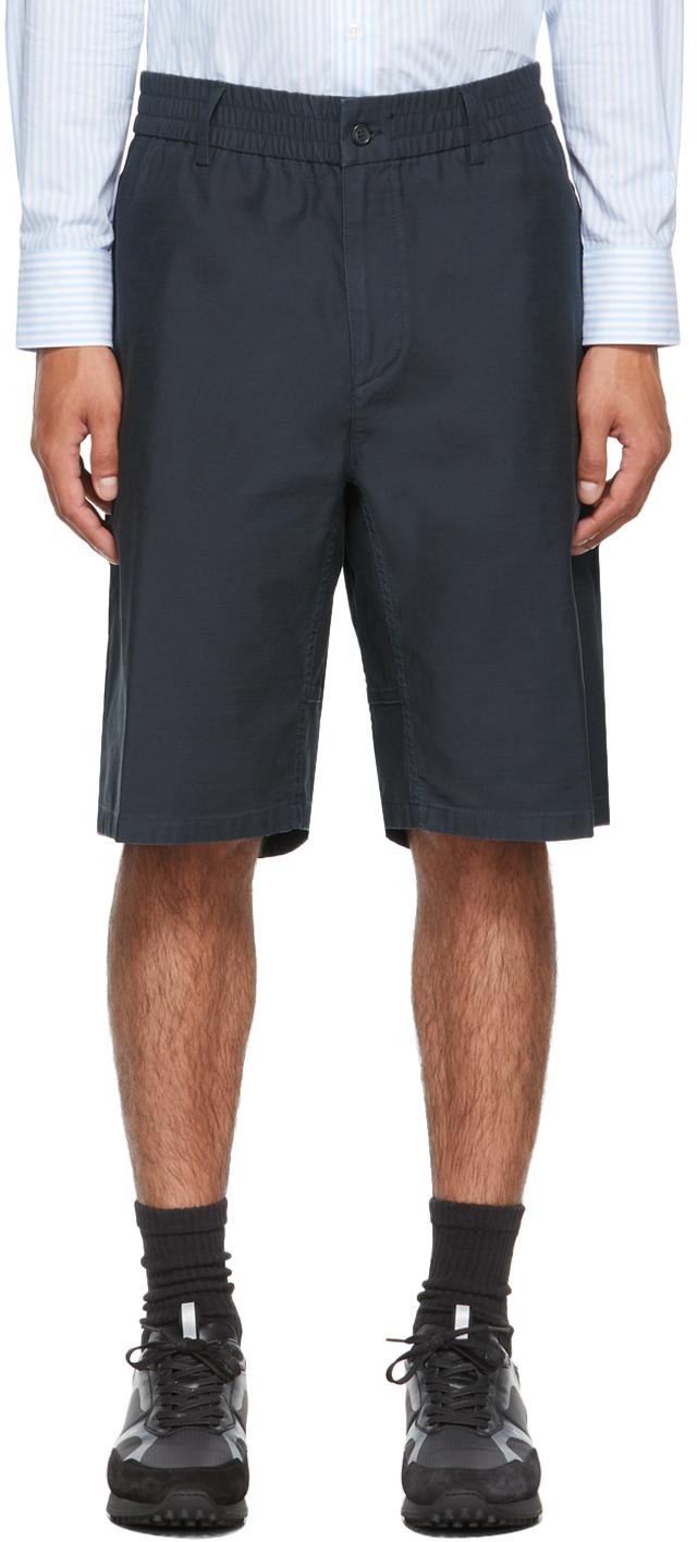 Photo: Dunhill Navy Cotton Utility Shorts