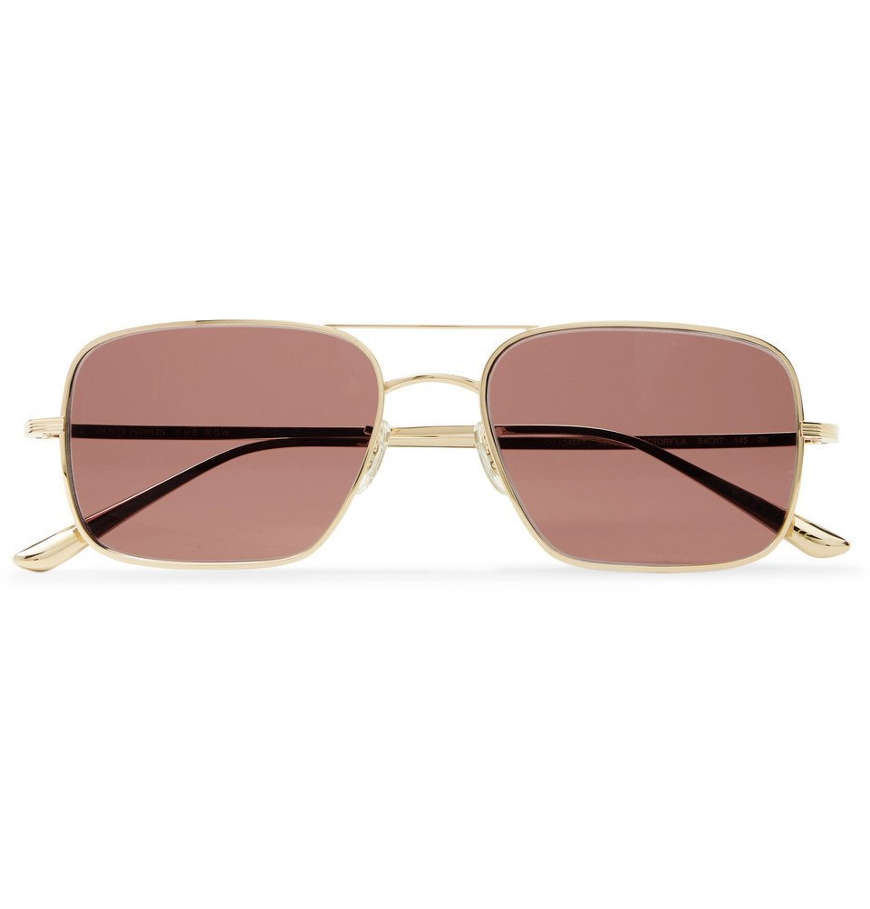 Photo: The Row - Oliver Peoples Victory LA Aviator-Style Gold-Tone Titanium Sunglasses - Gold