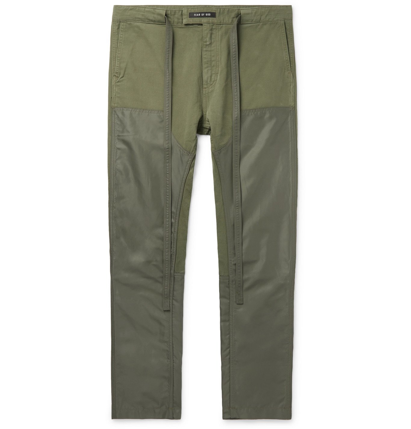 Photo: Fear of God - Slim-Fit Belted Panelled Cotton-Twill and Nylon Trousers - Green