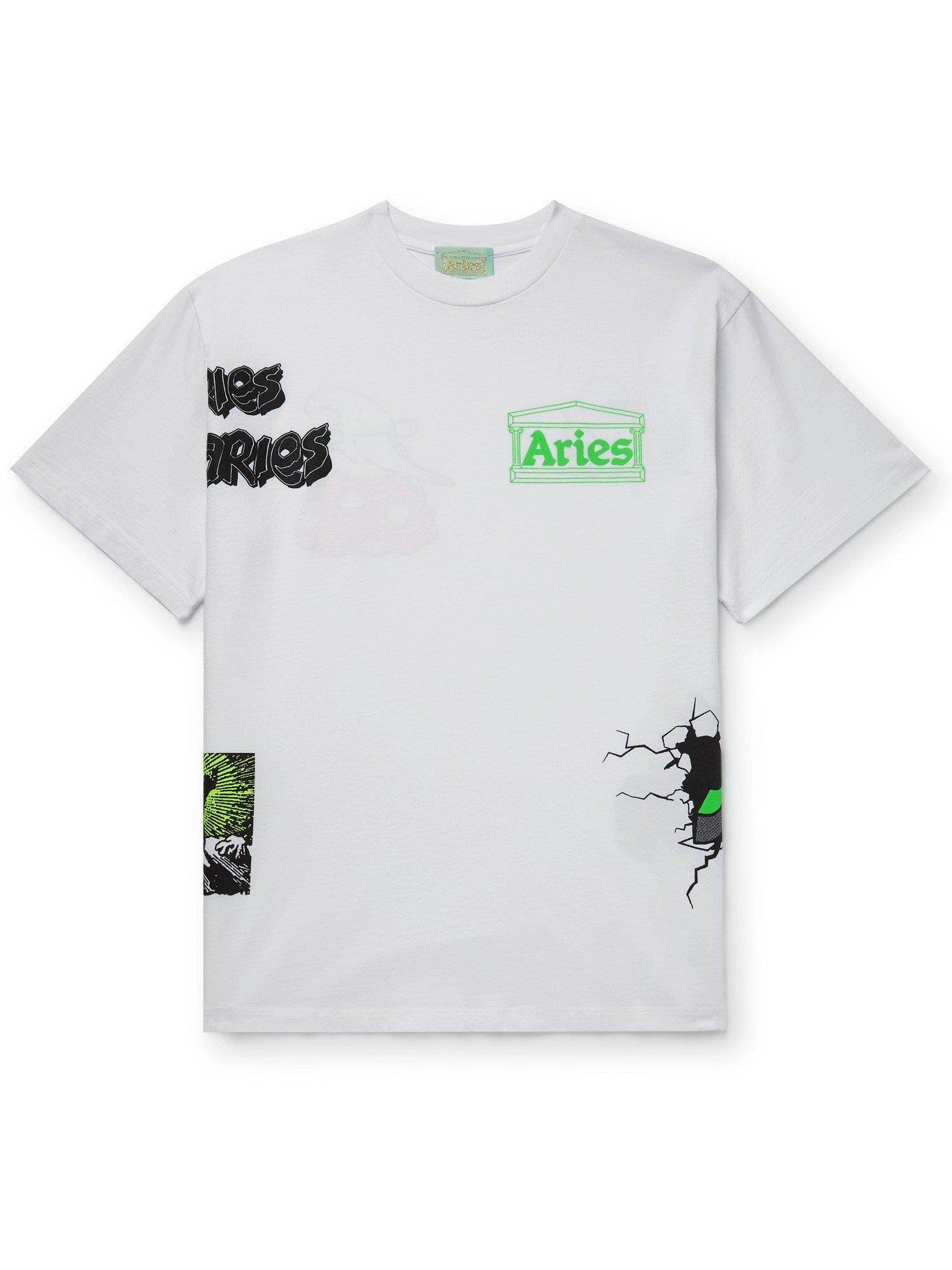 ARIES - Printed Cotton-Jersey T-Shirt - White - XL