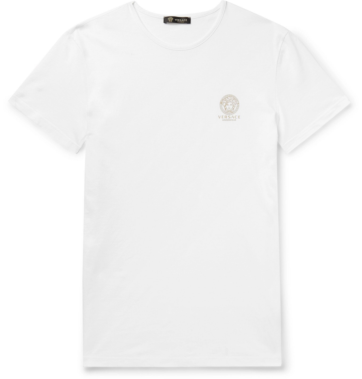Photo: Versace - Two-Pack Slim-Fit Logo-Print Stretch-Cotton Jersey T-Shirts - White